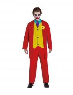 Verrückter Clown Filmkostüm für Herren Faschingskostüm rot-gelb