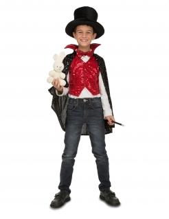 Magier-Kostüm für Jungen Faschingskostüm rot-weiss-schwarz