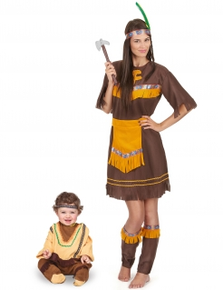 Indianer-Paarkostüm für Mutter und Kind Faschingskostüm braun-gelb