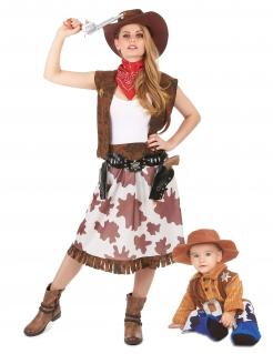 Cowboy-Paarkostüm für Mutter und Kind Faschingskostüm braun-blau