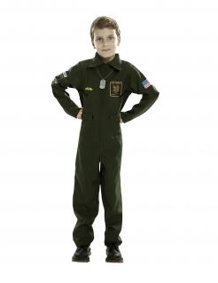 Piloten-Jungenkostüm Kampfpilot Faschingskostüm dunkelgrün
