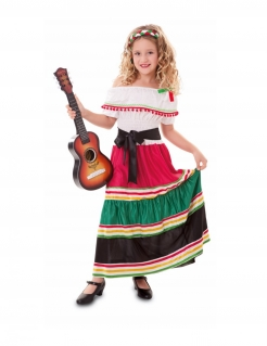 Mexikanisches Kostüm für Mädchen traditionelles Kostüm weiss-rot-schwarz