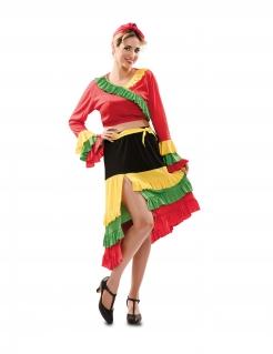 Traditionelles Tänzerin-Kostüm für Damen Faschingskostüm rot-gelb-schwarz
