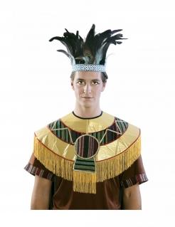 Feder-Kopfschmuck Azteken blau-schwarz