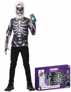 Skull Trooper-Kostümkoffer für Jugendliche Fortnite™ Faschingskostüm schwarz-weiss