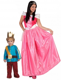 Prinz und Prinzessin Märchen-Paarkostüm Mutter-Kind bunt