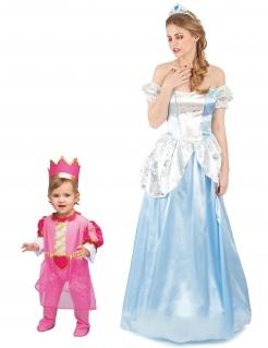 Prinzessin-Paarkostüm für Mutter und Tochter Faschingskostüm blau-rosa
