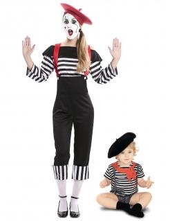 Pantomimen-Paarkostüm Mutter und Kind schwarz-weiss-rot