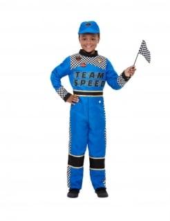 Formel 1-Pilotenkostüm für Jungen Faschingskostüm blau
