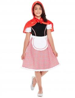 Süßes Rotkäppchen-Kostüm für Mädchen Märchen-Kostüm rot-schwarz-weiss