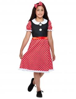 Niedliches Maus-Kostüm für Mädchen Faschingskostüm rot-schwarz