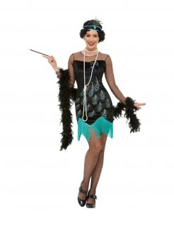 20er Jahre-Kostüm für Damen Pfauenmuster Faschingskostüm schwarz-türkis