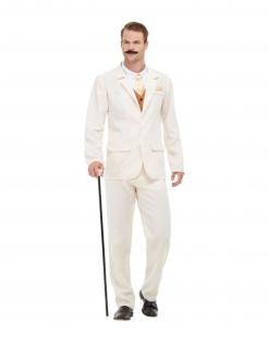 Gentleman-Kostüm für Herren 20er Jahre Faschingskostüm weiss-gold