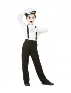 Pantomime-Set für Kinder 4-teilig Faschingsaccessoire schwarz-weiss
