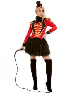 Zirkusdirektorin-Kostüm für Damen Faschingskostüm rot-schwarz-gold