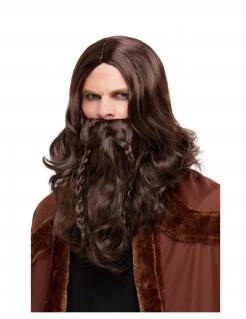 Wikinger-Perücke mit Bart braun