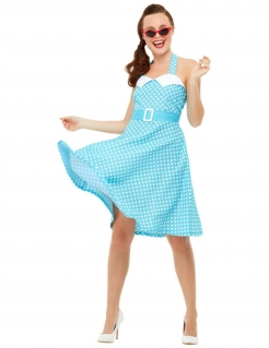 Pin-up Kostüm für Damen blau-weiss