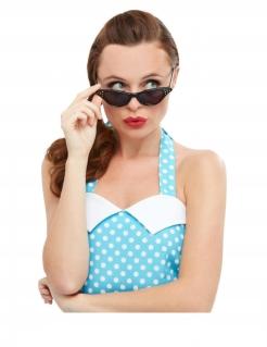 Retro-Brille mit Strass für Damen 50er Jahre Accessoire schwarz