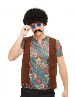 Hippie-Kostümzubehör für Herren Faschingsaccessoire 4-teilig schwarz-braun