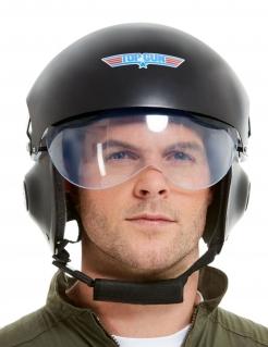 Top Gun™-Helm Deluxe-Accessoire Faschingszubehör schwarz