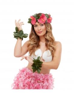 Hula-Tänzerin-Accessiore-Set Hawaii-Kostüm-Kit für Erwachsene 3-teilig grün-pink