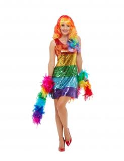Regenbogen-Kostüm für Damen mit Pailletten Faschingskostüm bunt
