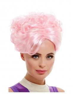 Futuristische Perücke Zukunft Hochsteckfrisur rosa