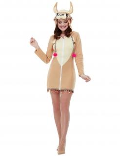 Lama-Kostüm für Damen Kleid Tierkostüm Fasching hellbraun-beige