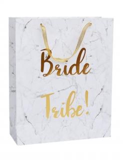 Junggesellinnenabschied-Geschenktasche Marmor Bride Tribe Deko weiss-gold 32x25 cm