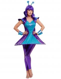 Alien-Kostüm für Damen blau-violett