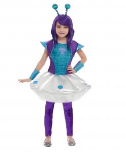 Alien-Kostüm für Mädchen türkis-lila-silbern