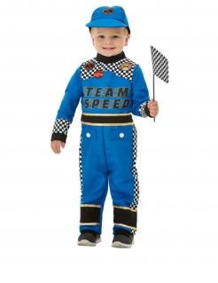 Baby-Rennfahrer Karneval-Kostüm blau-schwarz-weiss