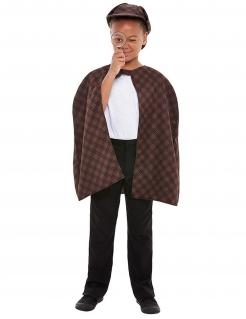 Detektiv-Kostüm für Kinder mit Lupe Faschingskostüm braun