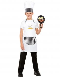 Koch-Kostüm für Kinder mit Pfanne Faschingskostüm schwarz-weiss