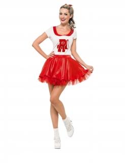 Grease™-Kostüm für Damen Cheerleader Sandy-Kostüm rot-weiss