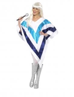 Disco-Kostüm für Damen Poncho Faschingskostüm weiss-blau