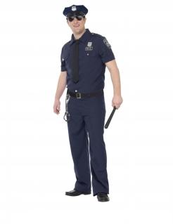 Polizist-Kostüm für Herren in Übergrösse NYC Faschingskostüm blau