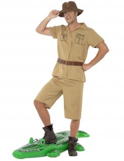 Krokodil-Fänger-Kostüm für Herren Faschingskostüm braun