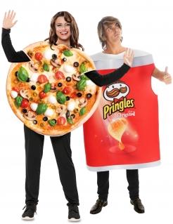 Fastfood-Paarkostüm für Erwachsene Pizza und Pringles™ bunt