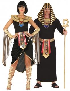 Ägypten-Partnerkostüm für Erwachsene Pharao und Cleopatra Fasching schwarz-gold
