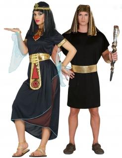 Ägypten-Paarkostüm für Erwachsene Cleopatra und Pharao Faschingskostüm schwarz-gold