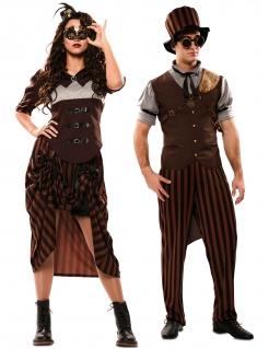 Steampunk-Piloten Paarkostüm für Erwachsene braun-schwarz