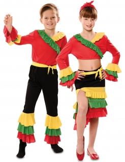 Rumba-Paarkostüm für Kinder Tanz-Kostüm Fasching bunt
