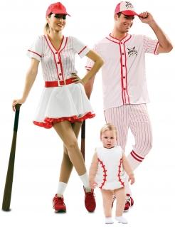 Baseball-Familie Gruppenkostüm weiss-rot