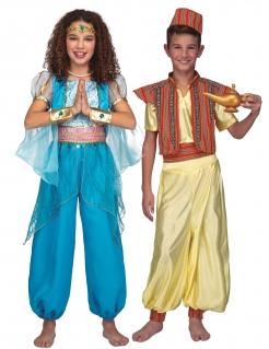 Orientalisches Paarkostüm für Kinder Bauchtänzerin und Prinz Faschingskostüm blau-gelb