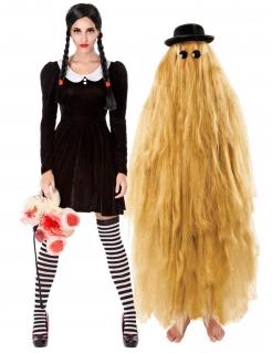 Makabres Filmpaar Gothic-Paarkostüm für Erwachsene schwarz-weiss-blond
