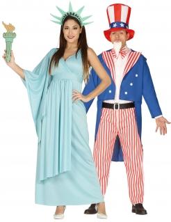 USA-Paarkostüm für Erwachsene Freiheitsstatue und Uncle Sam blau-rot-weiss