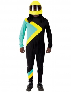 Jamaikanisches Bob-Fahrer-Kostüm für Herren Faschingskostüm Sport schwarz-gelb-blau