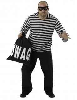 Räuber-Kostüm für Herren Faschingskostüm schwarz-weiss