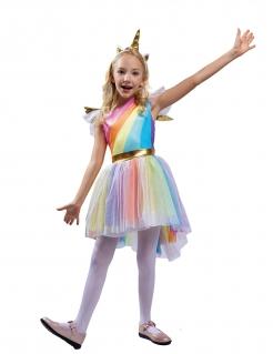 Einhorn-Kostüm für Mädchen in Regenbogenfarben Faschingskostüm bunt